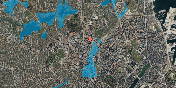 Oversvømmelsesrisiko fra vandløb på Bisiddervej 18, 1. th, 2400 København NV