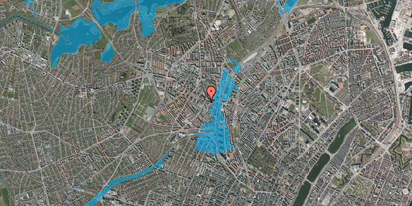 Oversvømmelsesrisiko fra vandløb på Vibevej 7A, 1. , 2400 København NV