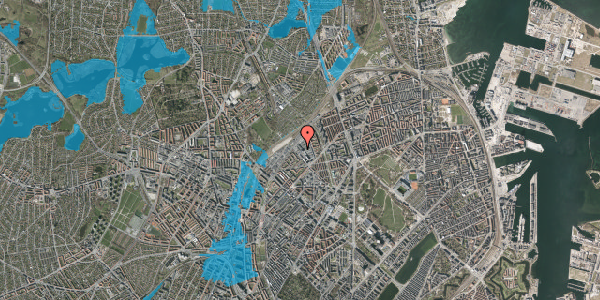 Oversvømmelsesrisiko fra vandløb på Vermundsgade 40, 3. , 2100 København Ø