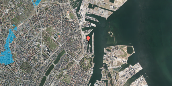 Oversvømmelsesrisiko fra vandløb på Amerika Plads 24A, st. , 2100 København Ø