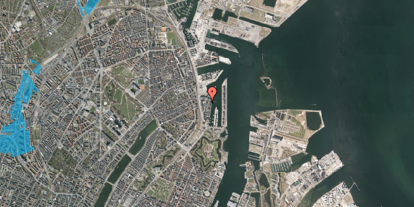 Oversvømmelsesrisiko fra vandløb på Amerika Plads 24C, st. , 2100 København Ø