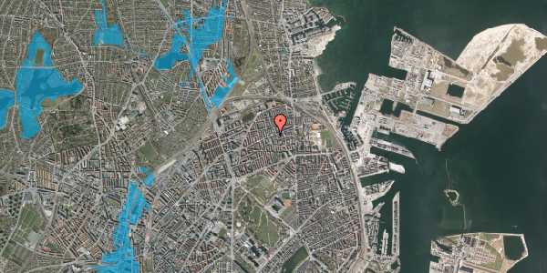 Oversvømmelsesrisiko fra vandløb på Nygårdsvej 25, 2. th, 2100 København Ø