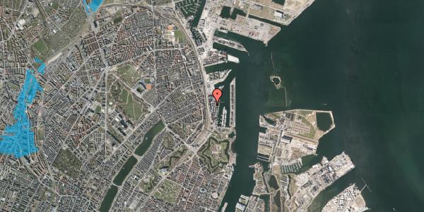 Oversvømmelsesrisiko fra vandløb på Amerika Plads 16, 3. tv, 2100 København Ø
