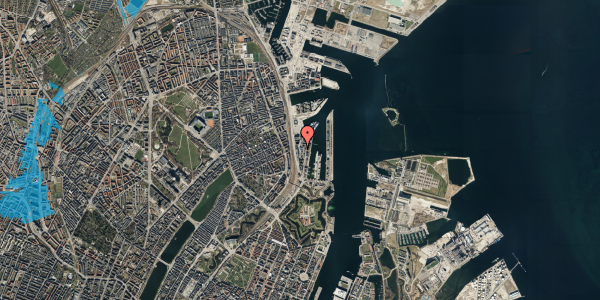Oversvømmelsesrisiko fra vandløb på Amerika Plads 16, 5. th, 2100 København Ø
