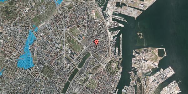 Oversvømmelsesrisiko fra vandløb på Rosenvængets Allé 20A, 4. mf, 2100 København Ø