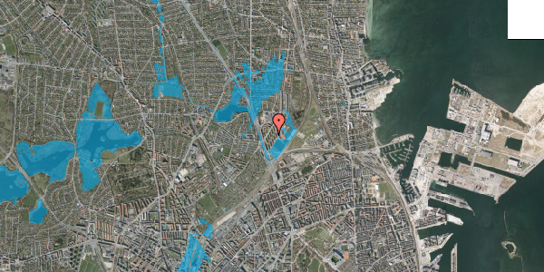 Oversvømmelsesrisiko fra vandløb på Ryparken 62A, 2100 København Ø