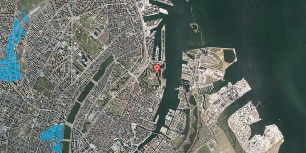 Oversvømmelsesrisiko fra vandløb på Kastellet 104, 2100 København Ø