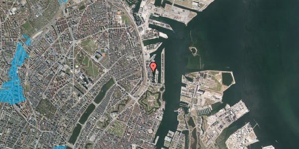 Oversvømmelsesrisiko fra vandløb på Amerika Plads 3C, 9. , 2100 København Ø