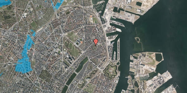 Oversvømmelsesrisiko fra vandløb på A.L. Drewsens Vej 1B, 2100 København Ø