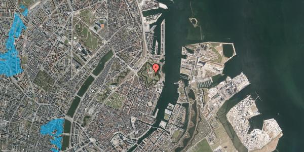 Oversvømmelsesrisiko fra vandløb på Kastellet 14B, 2100 København Ø