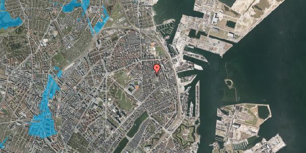 Oversvømmelsesrisiko fra vandløb på Viborggade 44, 3. th, 2100 København Ø