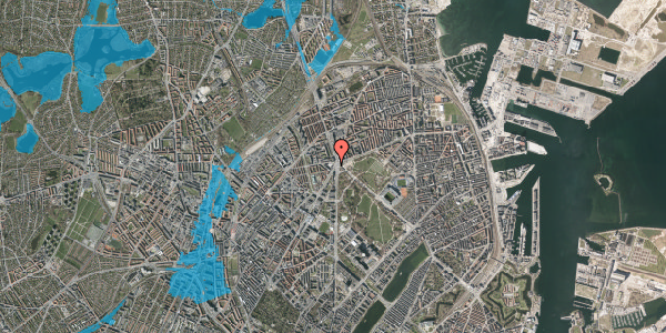 Oversvømmelsesrisiko fra vandløb på Jagtvej 169A, 1. th, 2100 København Ø