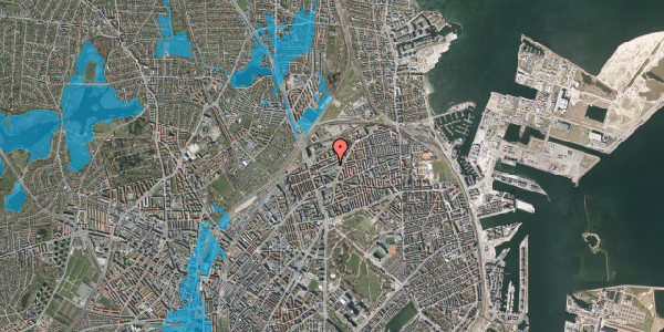 Oversvømmelsesrisiko fra vandløb på Venøgade 24, 2. mf, 2100 København Ø