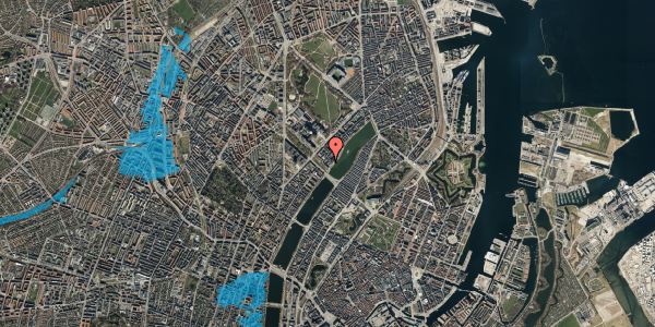 Oversvømmelsesrisiko fra vandløb på Sortedam Dossering 53C, 1. 4, 2100 København Ø
