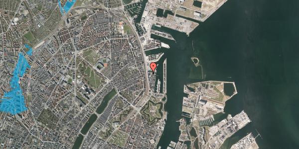 Oversvømmelsesrisiko fra vandløb på Amerika Plads 25C, 3. th, 2100 København Ø