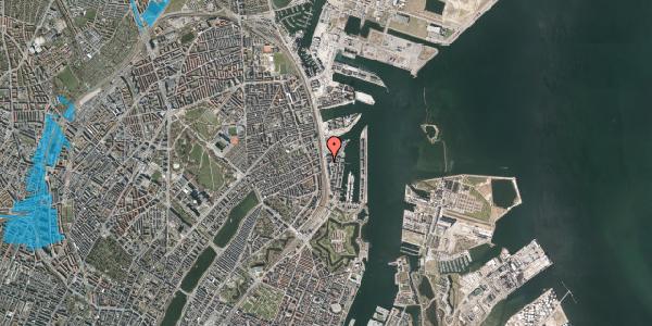 Oversvømmelsesrisiko fra vandløb på Kalkbrænderihavnsgade 4B, 2. tv, 2100 København Ø