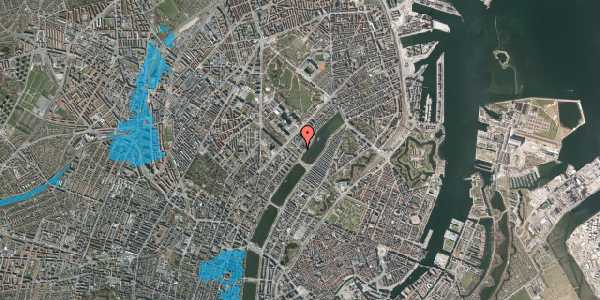Oversvømmelsesrisiko fra vandløb på Sortedam Dossering 53C, kl. 13, 2100 København Ø