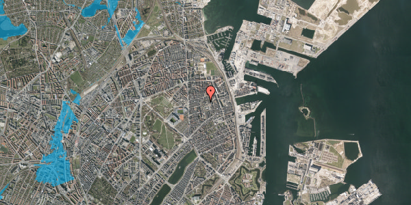 Oversvømmelsesrisiko fra vandløb på Viborggade 70, 2100 København Ø