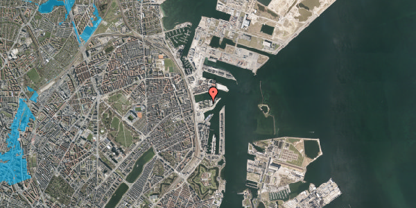 Oversvømmelsesrisiko fra vandløb på Marmorvej 43, 1. tv, 2100 København Ø