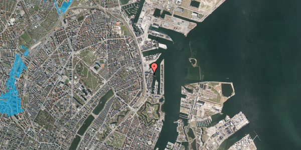 Oversvømmelsesrisiko fra vandløb på Amerika Plads 36, 5. tv, 2100 København Ø