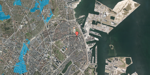 Oversvømmelsesrisiko fra vandløb på Svendborggade 1, 5. 508, 2100 København Ø