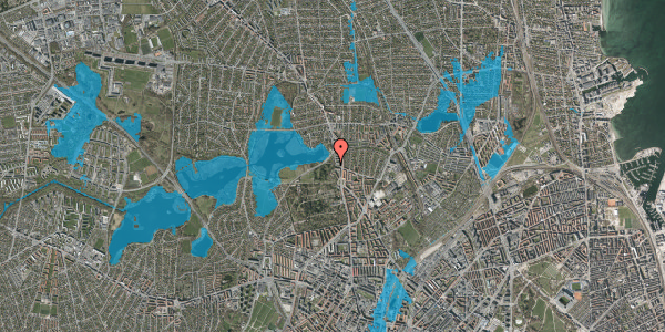 Oversvømmelsesrisiko fra vandløb på Orgelbyggervej 7, 2400 København NV