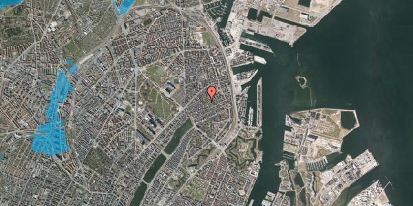 Oversvømmelsesrisiko fra vandløb på Rosenvængets Allé 37A, 2100 København Ø