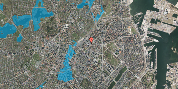 Oversvømmelsesrisiko fra vandløb på Vermundsgade 38E, 2. tv, 2100 København Ø