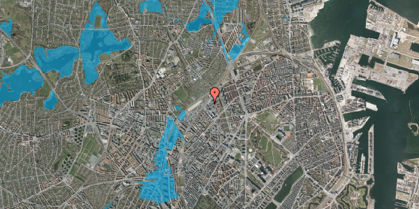 Oversvømmelsesrisiko fra vandløb på Emblasgade 11, 1. tv, 2100 København Ø