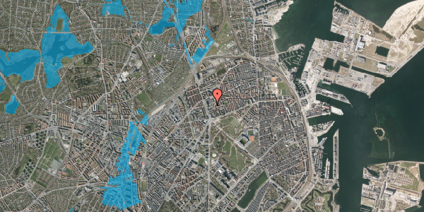 Oversvømmelsesrisiko fra vandløb på Lyngbyvej 28, 2100 København Ø