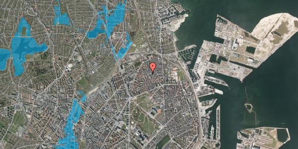 Oversvømmelsesrisiko fra vandløb på Nygårdsvej 34, 4. 3, 2100 København Ø