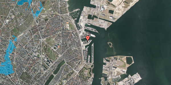 Oversvømmelsesrisiko fra vandløb på Marmorvej 27, 1. th, 2100 København Ø