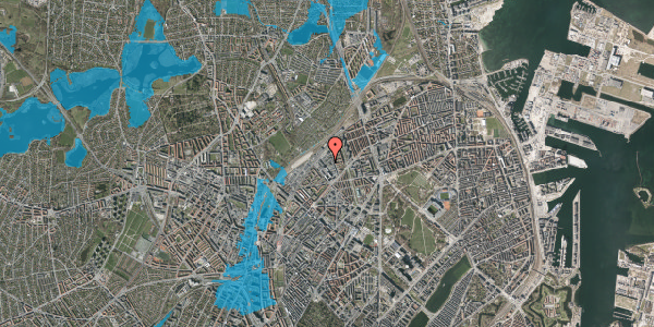 Oversvømmelsesrisiko fra vandløb på Emblasgade 161, 1. th, 2100 København Ø