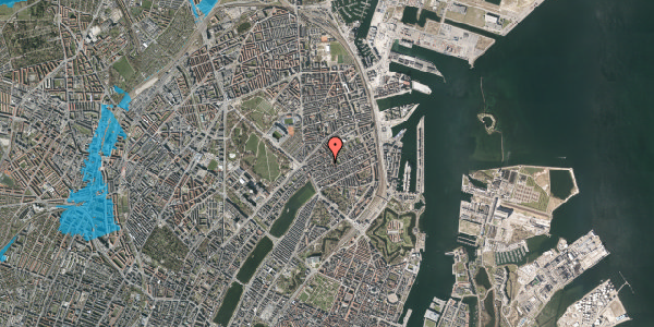 Oversvømmelsesrisiko fra vandløb på Rosenvængets Allé 20A, 2. mf, 2100 København Ø