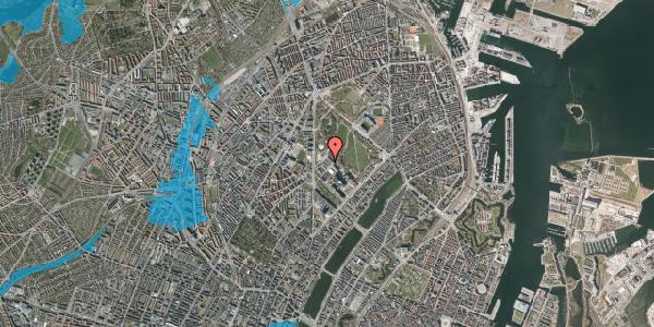 Oversvømmelsesrisiko fra vandløb på Henrik Harpestrengs Vej 13, 2100 København Ø