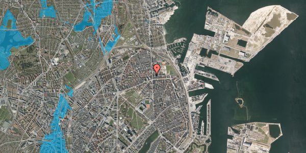 Oversvømmelsesrisiko fra vandløb på Østerbrogade 160A, 2100 København Ø