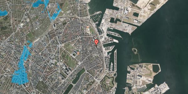 Oversvømmelsesrisiko fra vandløb på Vejlegade 10, kl. 7, 2100 København Ø
