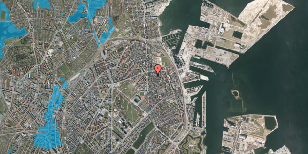 Oversvømmelsesrisiko fra vandløb på Vordingborggade 18, st. , 2100 København Ø