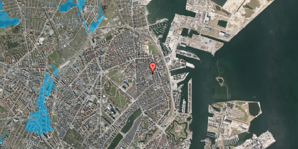 Oversvømmelsesrisiko fra vandløb på Viborggade 70E, 2100 København Ø