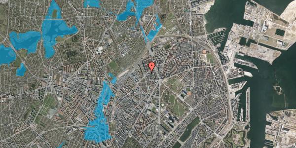 Oversvømmelsesrisiko fra vandløb på Haraldsgade 70, 1. , 2100 København Ø