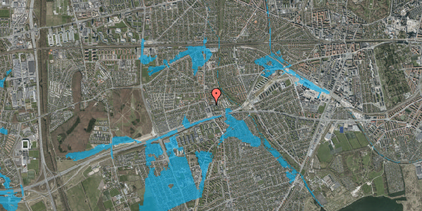 Oversvømmelsesrisiko fra vandløb på Baunebakkevej 10, 2. tv, 2650 Hvidovre