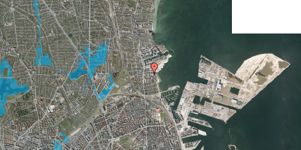 Oversvømmelsesrisiko fra vandløb på Scherfigsvej 10, 2100 København Ø