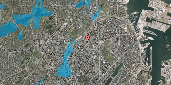 Oversvømmelsesrisiko fra vandløb på Vermundsgade 38, 3. , 2100 København Ø