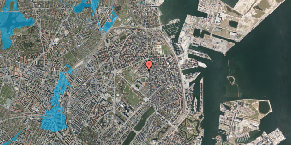 Oversvømmelsesrisiko fra vandløb på Østerfælled Torv 20, st. , 2100 København Ø