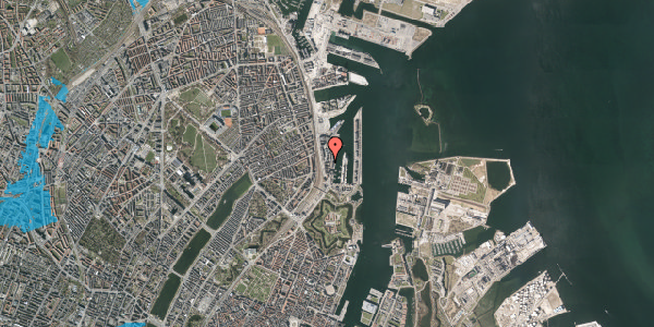 Oversvømmelsesrisiko fra vandløb på Amerika Plads 3E, 8. , 2100 København Ø