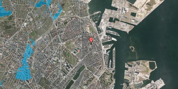 Oversvømmelsesrisiko fra vandløb på Viborggade 70, 1. , 2100 København Ø