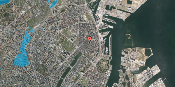 Oversvømmelsesrisiko fra vandløb på Rosenvængets Hovedvej 6A, 2100 København Ø