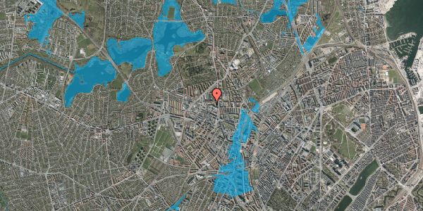 Oversvømmelsesrisiko fra vandløb på Dortheavej 2D, 2. tv, 2400 København NV