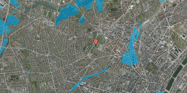 Oversvømmelsesrisiko fra vandløb på Hvidkildevej 80, 2400 København NV