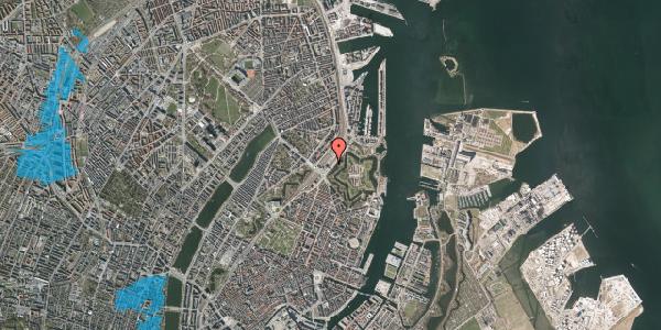 Oversvømmelsesrisiko fra vandløb på Folke Bernadottes Allé 5, 2100 København Ø